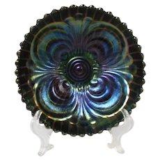 Imperial Deep Amethyst Scroll Embossed Carnival Glass Bowl