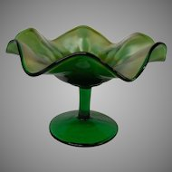 Fenton Green Carnival Glass Compote in Stippled Rays Pattern