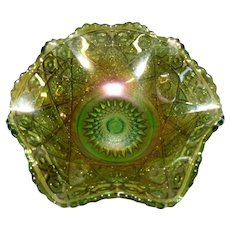 Imperial Emerald Green Carnival Glass Berry Bowl, Diamond Lace Pattern