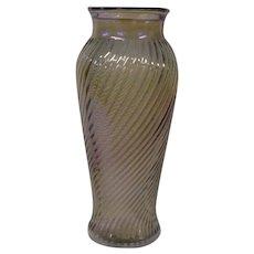 Vintage Imperial Carnival Glass Swirl Vase, Smoke Iridescence