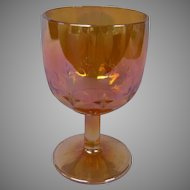 Vintage Marigold Carnival Glass Goblet with Incised Star Pattern