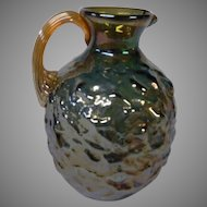 Final Markdown - Small Carnival Glass Pitcher in Marigold and Blue Nuggate by Pilgrim Glass Co.