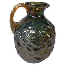 Small Carnival Glass Pitcher in Marigold and Blue Nuggate by Pilgrim Glass Co.