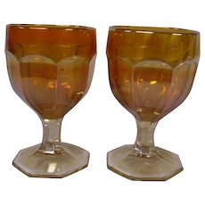 Imperial Glass Marigold Carnival Glass Buttermilk Goblets, Set of 2