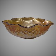 Dugan Marigold Carnival Glass Console Bowl in the Cherry, Wreathed Cherry Pattern