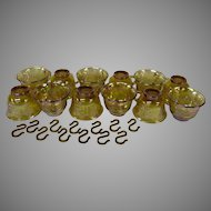 Indiana Glass Marigold Carnival Glass Set of 12 Punch Cups