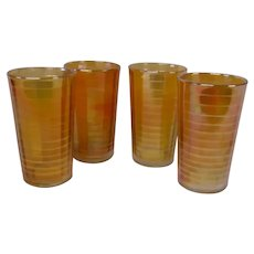 Imperial Marigold Carnival Glass Set of 4 Ribbed Glasses, Banded Rib Pattern