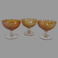 Vintage Carnival Glass Footed Custards in Marigold, Set of 3