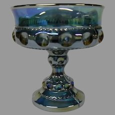 Final Markdown - Indiana Glass Blue Carnival Glass Compote, Thumbprint Pattern