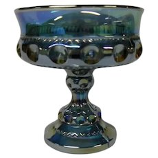 Indiana Glass Blue Carnival Glass Compote, Thumbprint Pattern