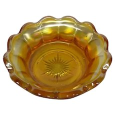 Indiana Glass Vintage Marigold Carnival Glass Berry Bowl, Flute Pattern