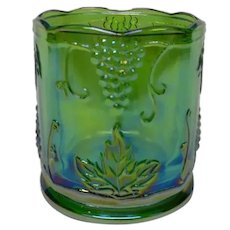 Indiana Glass Green Carnival Glass Jar in Grape Pattern