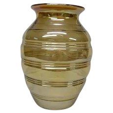 Jeanette Carnival Glass Vase in Marigold, Rings Pattern