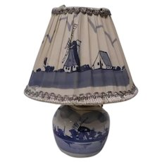 Sweet Blue Delft Hand Painted Boudoir Lamp and Shade