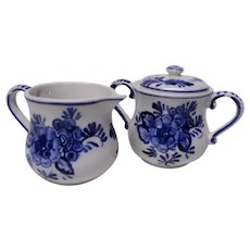 Small Blue Delft Creamer and Sugar Set with Kittens, Blue and White Earthenware