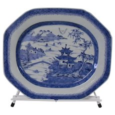 Early Canton China Blue and White Large Platter