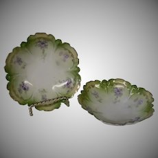 Porcelain Sauce Bowls with Floral Design, Marked RS Germany