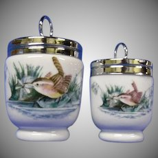 Royal Worchester English Egg Coddlers, Set of 2 with Birds