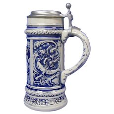 Large West Germany Stein in Blue Salt Glaze, Gerz Co.