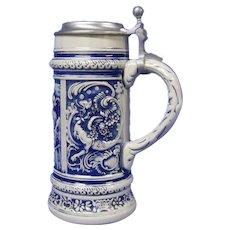 Large West Germany Stein in Blue Salt Glaze, Gerz Co.