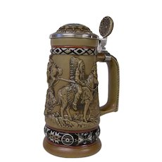 Avon Ceramic Stein with American Indian Motif, Handcrafted in Brazil 1988