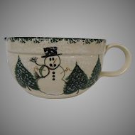 Large Chilly Snowman Stoneware Batter Bowl, Patton Pottery of California