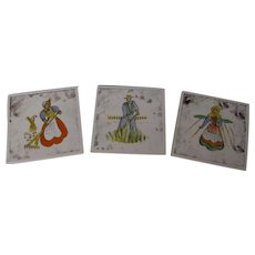 Danish Folk Art Set of 3 Decorative Vintage Tiles