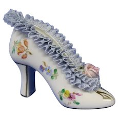 Petite Dresden High Heel Porcelain Slipper with Lace, Made in East Germany