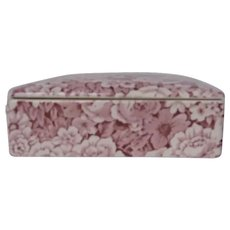 40's-50's English Lidded Box Covered in Pink and White Flowers