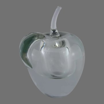 Large and Unique Apple Within An Apple Glass Apple Paperweight