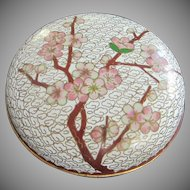 Vintage Cloisonne Lidded Bowl with Cherry Blossoms