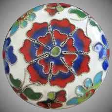 Petite Mini Cloisonne Trinket Box or Bowl with Lid in Bright Colors
