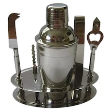 Vintage Stainless Steel Cocktail Shaker Set with Stand
