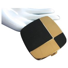 Final Markdown - Emrich Black Enamel and Gold Tone Compact Made in West Germany