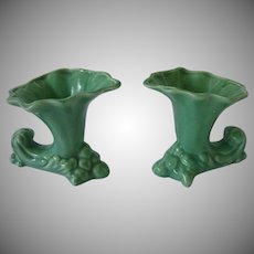 Fabulous Soft Green Vintage Cornucopia Vases Set of 2