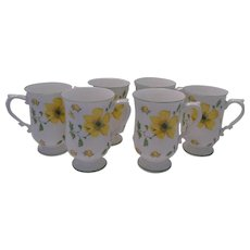 Set of 6 Bone China Pedestal Mugs with Bright Yellow Flowers, Wade of England ~ REDUCED!
