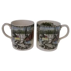 Vintage Pair of Mugs, The Friendly Village, Johnson Brothers, England