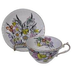 English Bone China Daffodils Teacup and Saucer