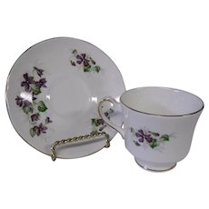 Flowered English Fine Bone China Cup and Saucer, Delicate Violets