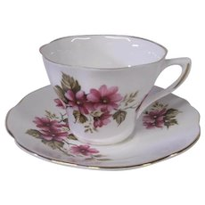 Royal Dover English Fine Bone China Flowered Cup and Saucer