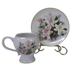 Artist Lena Liu Hummingbird and Lilies Vintage Cup and Saucer Set