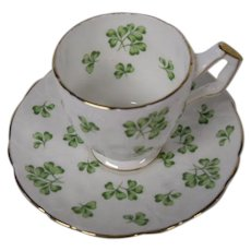 Aynsley of England Bone China Demitasse Cup and Saucer Set, Shamrocks 4 Leaf Clovers