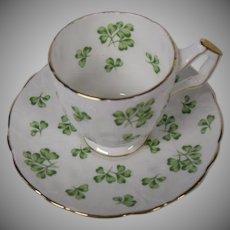 Aynsley of England Bone China Demitasse Cup and Saucer Set, Shamrocks 4 Leaf Clovers