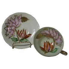 Occupied Japan Lotus Blossoms Cup and Saucer Set, Trimmed in Gold