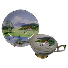 Lefton Scenes of Summer Vintage Cup and Saucer Set, Made in Japan