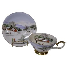 Lefton Scenes of Winter Vintage Cup and Saucer Set, Made in Japan
