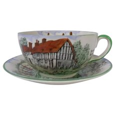 Extra Large Olde English Cup and Saucer Set, S. Fielding & Co, English Cottage Scenes