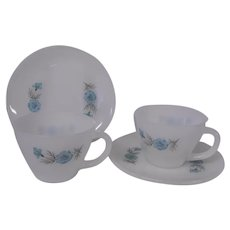 Vintage Fire King Milk Glass Cups and Saucers, Set of 2 with Turquoise Blue Asters