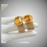 Topaz Rhinestone and Gold Mesh Cufflinks