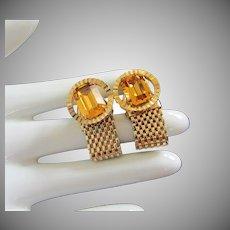 Topaz Rhinestone and Gold Mesh Cufflinks
